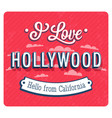 vintage greeting card from hollywood vector image vector image