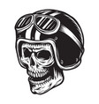vintage monochrome skull rider concept vector image vector image