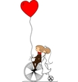Wedding Couple on a Bicycle Drawing vector image vector image
