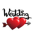 word wedding and two hearts vector image vector image