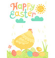 happy easter festive postcard with hen chickens vector image