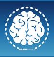 white brain icon design on colorful backdrop vector image