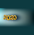 3d happy new 2020 year golden numbers poster vector image vector image