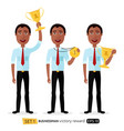 african business man winner success excited vector image