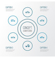 automobile outline icons set collection of sedan vector image vector image