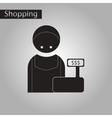Black and white style icon cashier vector image
