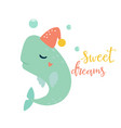 bright card with whale in hat vector image vector image