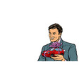 businessman gives a gift selling cars isolate on vector image vector image