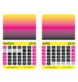 calendar grid march april vector image