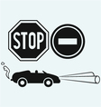 Car and two road signs vector image