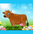 cartoon brown cow with nature background vector image vector image