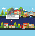city scenes with houses and cars on the road vector image