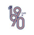 class 1990 logo retro white