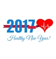 congratulations to healthy new year with a vector image