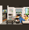 couple eating take out chinese food at home vector image