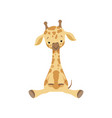 cute little giraffe sitting on the floor funny vector image vector image