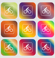 Cyclist sign icon Nine buttons with bright vector image vector image