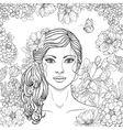 girl flowers outline vector image vector image