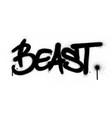 graffiti beast word sprayed in black over white vector image