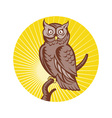 great horned owl bird woodcut vector image