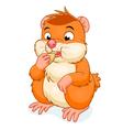 Hamster eats grain vector image vector image