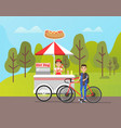 hot dog stall with snacks bicyclist merchant vector image vector image