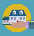 house in a palm a hand property insurance vector image vector image