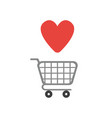 icon concept of shopping cart with heart vector image vector image