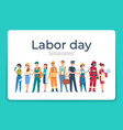 labor day greeting card cartoon engineer and vector image