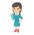 little caucasian girl holding a glass of water vector image vector image