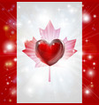 love canada flag heart background vector image vector image