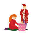 merry christmas father and daughter with gift box vector image vector image
