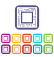 microchip icons set flat vector image vector image