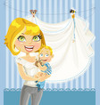 mom with baboy blue openwork announcement card vector image