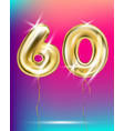 number sixty gold foil balloon on gradient vector image vector image