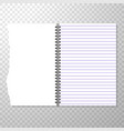 opened notebook template with lined and blank page vector image