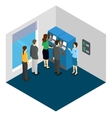 People And ATM Machine Isometric Design vector image vector image
