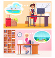 pretty women works in office vector image vector image