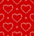 Red seamless pattern with snowflake hearts vector image vector image