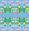 seamless flamingo bird pattern vector image