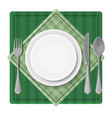 served dinner plate with cutlery spoon fork and vector image