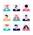 set nine square avatar casual modern people vector image vector image
