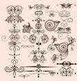 set of calligraphic elements and flourishes vector image vector image