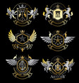 set of vintage emblems created with decorative vector image vector image