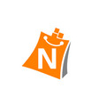 shopping online initial n vector image vector image