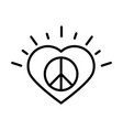 sign peace in heart love human rights day line vector image vector image