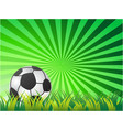 soccer ball on green sun ray background vector image vector image