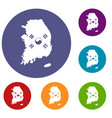 south korea map with flag icons set vector image