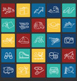 summer vacation thin line set on color squares vector image vector image