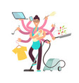 Super busy mother working and cooking vector image